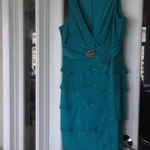 Cocktail/Formal Dress-London Times-Turquoise SZ14W